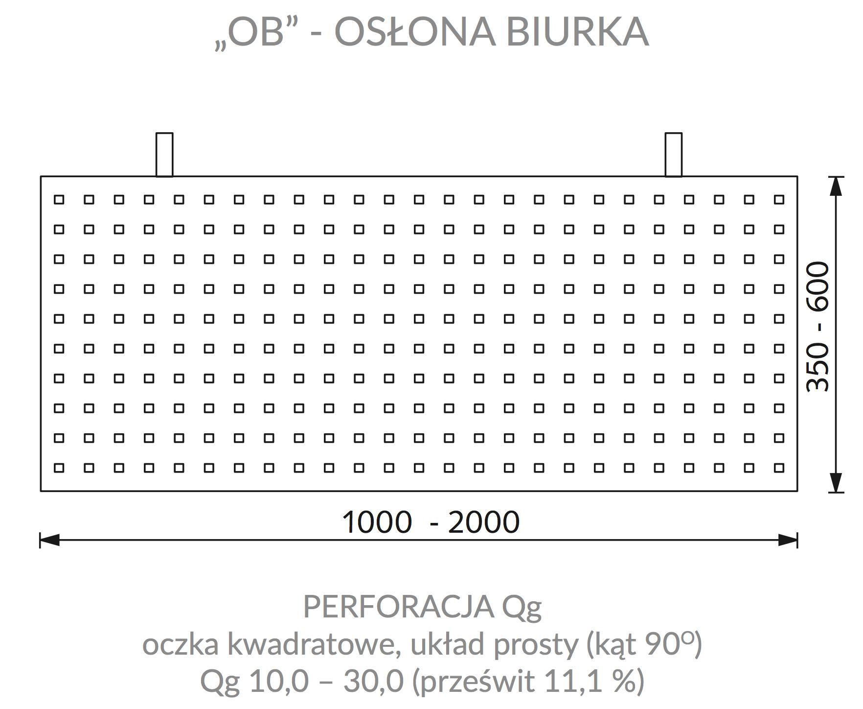 OB - osłona biurka z blachy perforowanej
